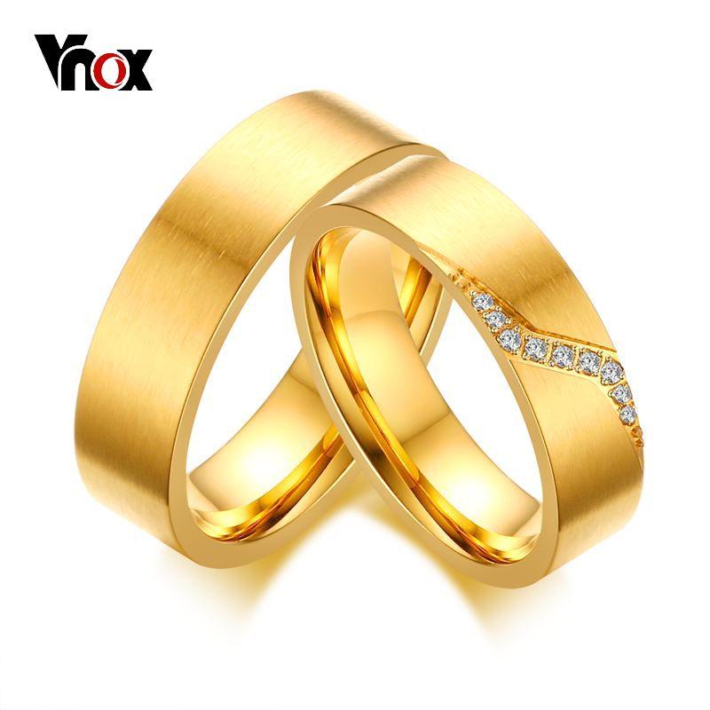 133eb9a16c Vnox CZ Stones Path Design Wedding Rings for Women Men Gold-color Ring  Alliance Anniversary