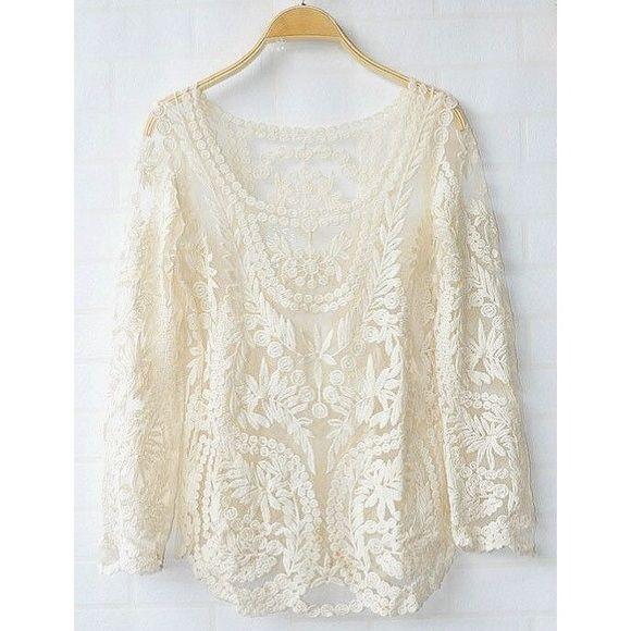 888373b74399e1 Bohemian crochet long sleeve top Boho cream crochet top with long sleeves  like new. Tops