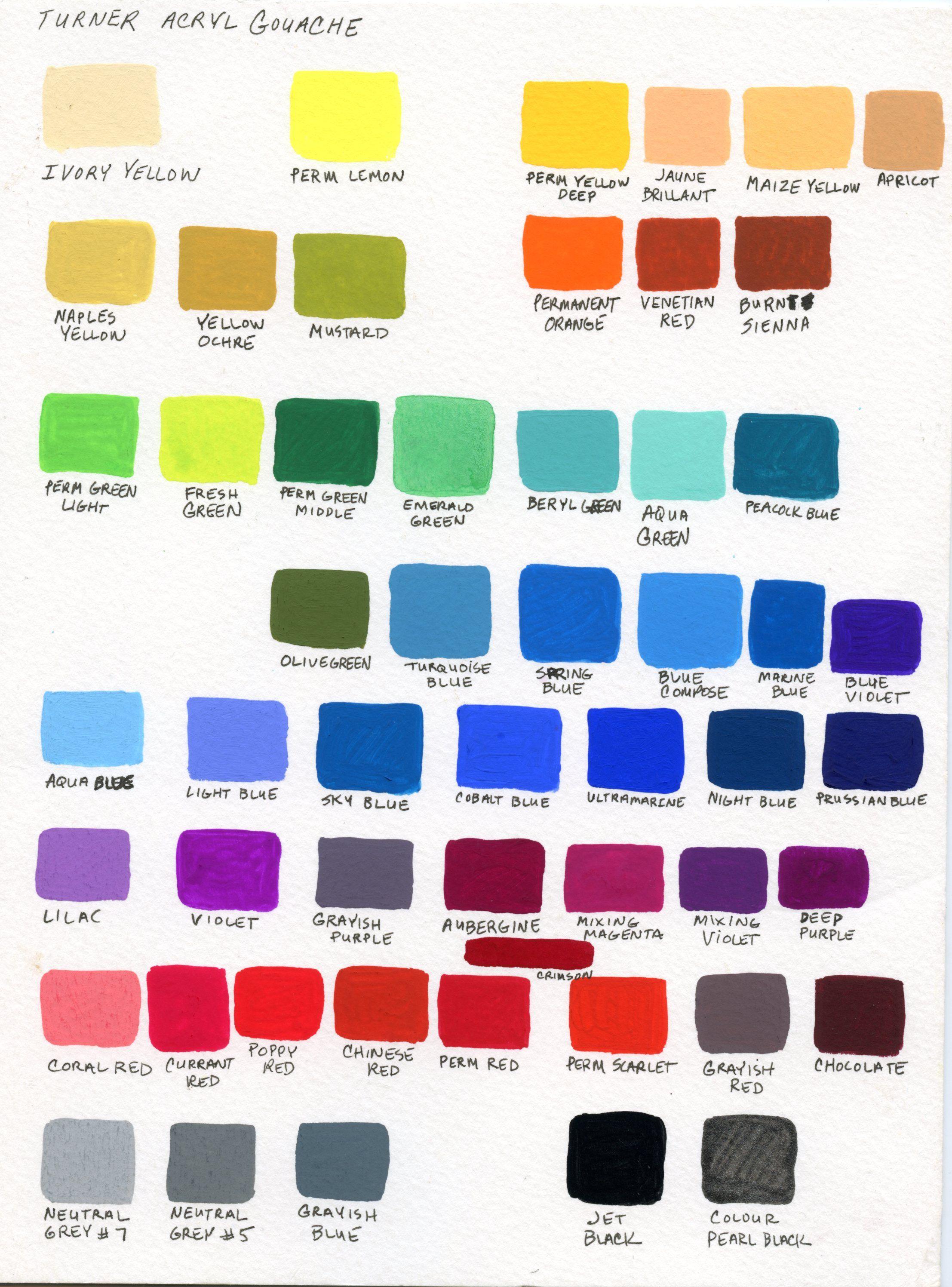 My Color Chart As A Beginner Turner Acryl Gouache Gouache