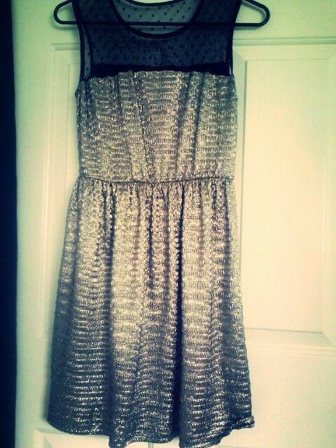 Black polka dot see through and silver lamae dress!! In love <3