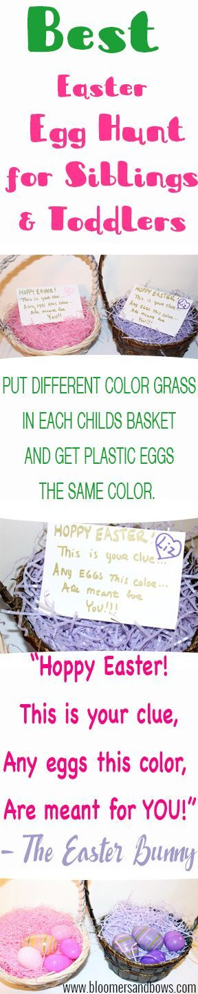 Best easter egg hunt for siblings and toddlers. Help toddlers with their colors this Hoppy Easter. Bloomers and Bows