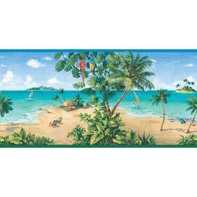 Allen Roth 10 1 4 Tropical Beach Scene Prepasted Wallpaper Border Beach Wallpaper Scenic Wallpaper Wallpaper Companies