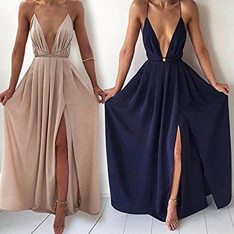 df499405fdb Boutiquefeel Womens Chiffon Spaghetti Strap Deep V Neck High Slit Maxi  Dress Beach Dresses