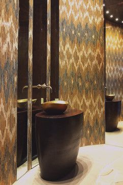 Powder Bathroom Designed By Habachy Designs Ikat Patterned Gl Mosaic Tile New Ravenna
