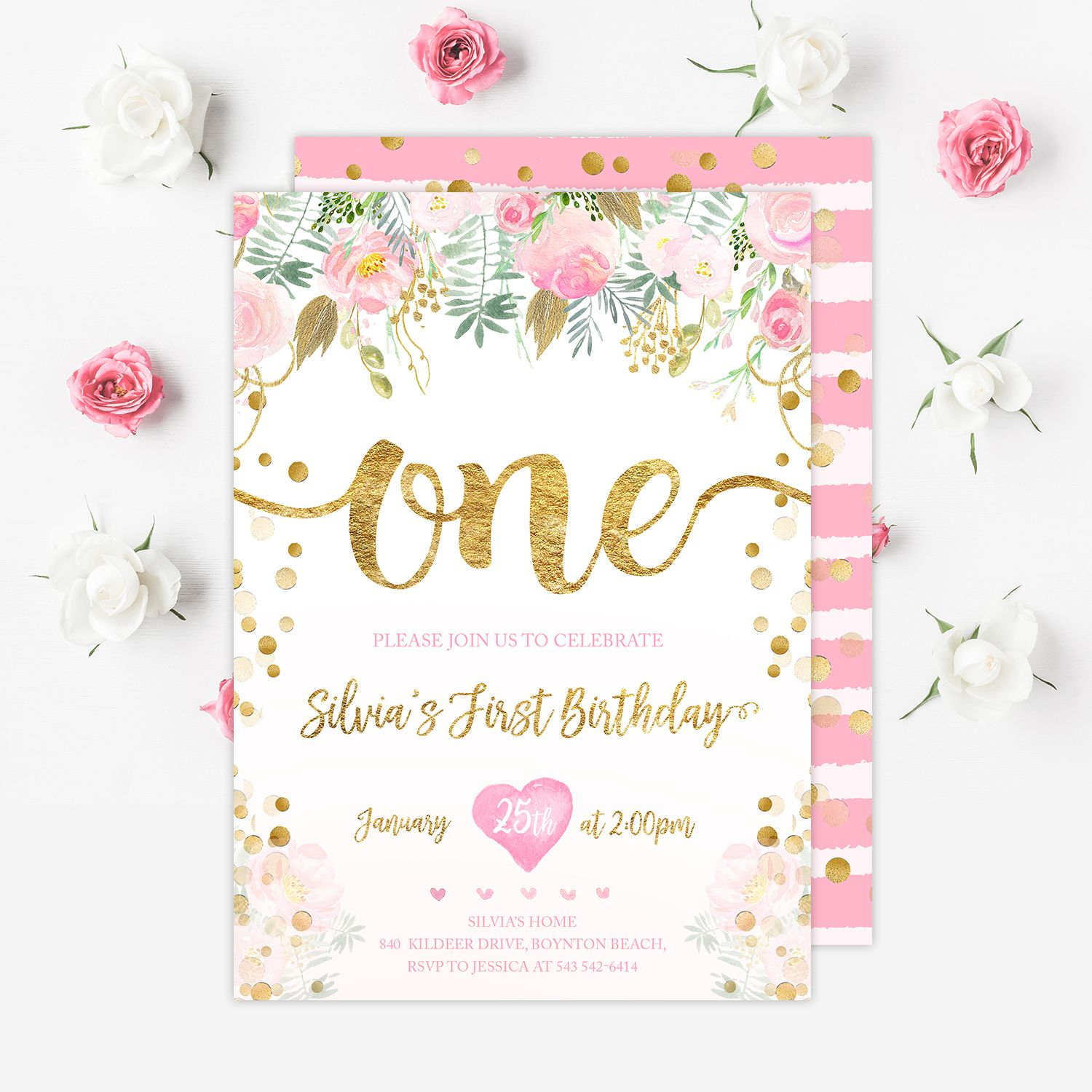 First Birthday Invitation Girl First Pink And Gold Invitation