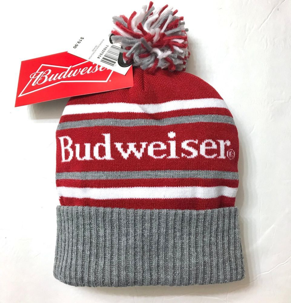 20 BUDWEISER POM BEANIE Retro Vtg-look Winter Knit Ski Hat Cap Beer  Men Women  Budweiser  Beanie 676a266be70b