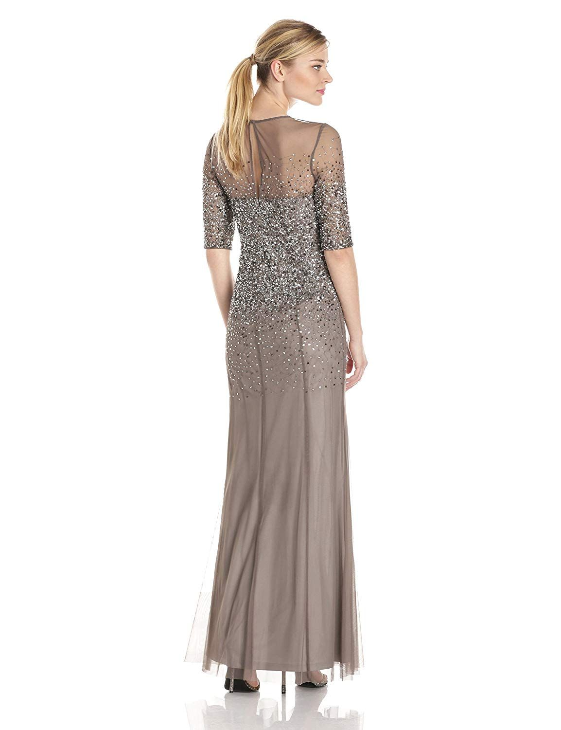 6aeafac39d8e0a Adrianna Papell Women's 3/4 Sleeve Beaded Illusion Gown with Sweetheart  Neckline