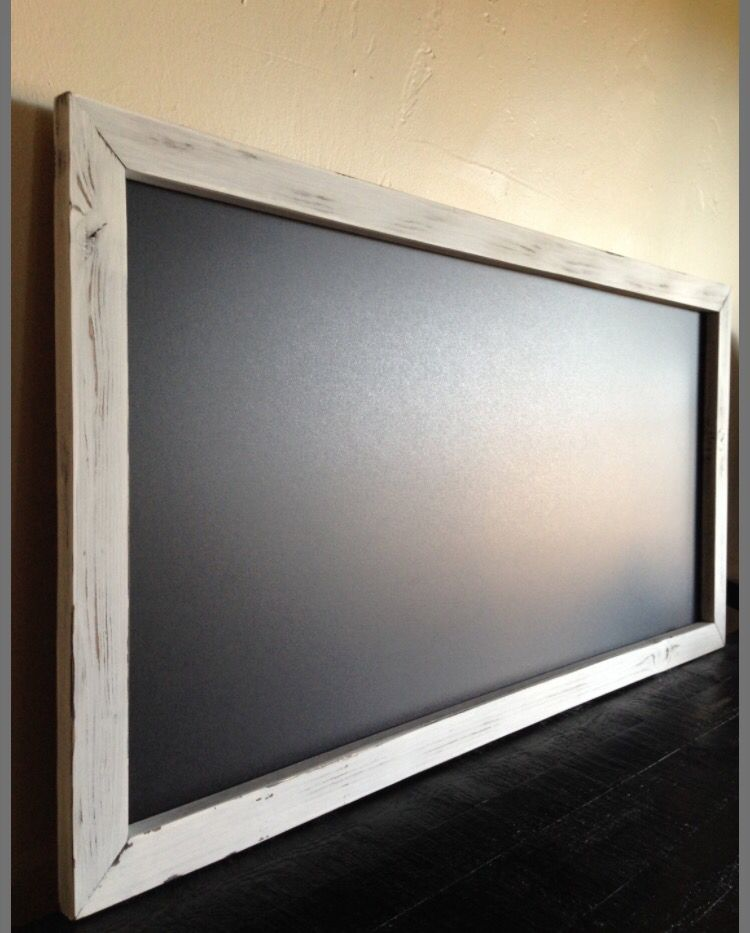 18x36 Magnetic chalkboard with distressed white frame. Handmade by ...