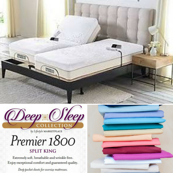 Split King Deep Sleep 1800 Thread Count Sheet Set Dual