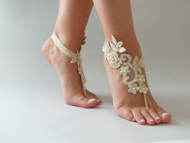 Champagne Barefoot Sandals Lace Bridal Shoes Beach Wedding