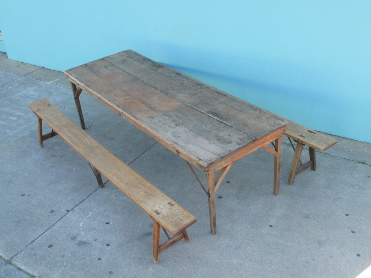California Harvest Farm Table and French School House Benches ...