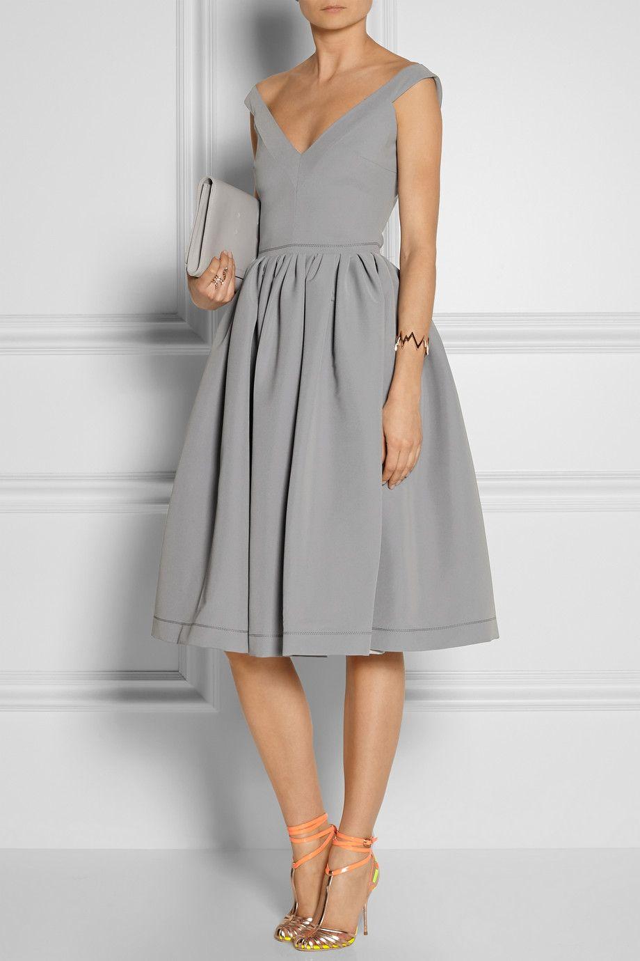 Preen By Thornton Bregazzi Flo Satin Crepe Dress In Dove Gray