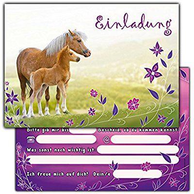 12 Pferde Einladungskarten Zum Kindergeburtstag // Geburtstagseinladungen  Mädchen Einladungen Geburtstag Kinder Blumen Einhorn Einladungstext Vorlagen