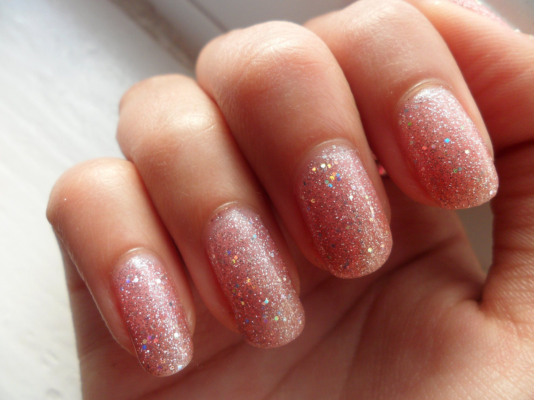 Gelish - June Bride. sheer glitter pink. Perfect layered over other ...