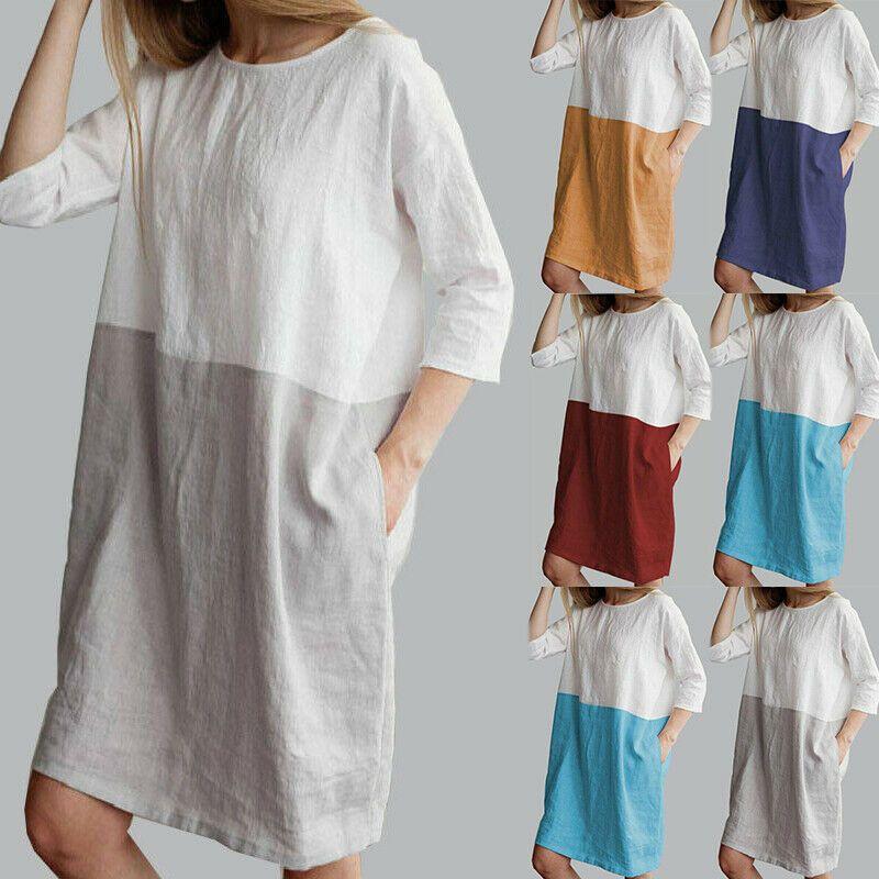 Damen Leinen V-Ausschnitt Sommerkleid Minikleid 3//4 Arm Lose Longshirt Longtop