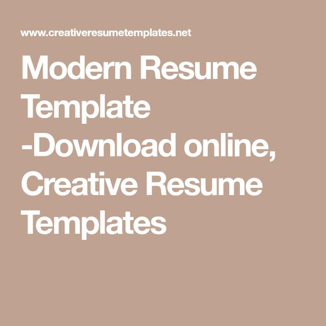 Modern Resume Template -Download online, Creative Resume Templates ...