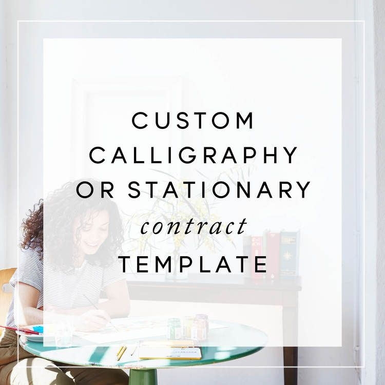 Custom Calligraphy or Stationery Contract Template Calligraphy - seo contract template