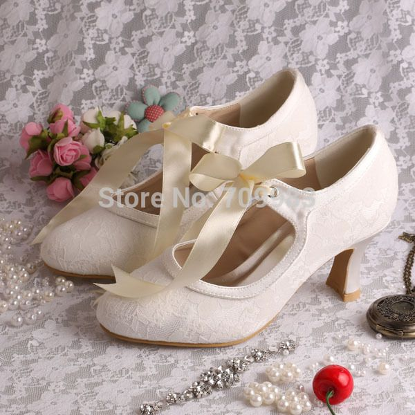 (More Colors) Custom Handmade Low Heel Ivory Bridal Shoes Lace Ribbon Euro  Size 34~42 Free Shipping-in Pumps from Shoes on Aliexpress.com  a6db49860231