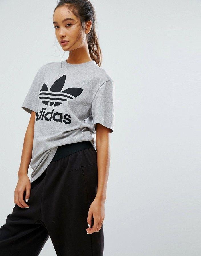 Adidas adidas Originals Gray Trefoil Boyfriend T-Shirt