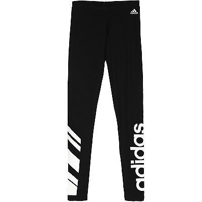 Adidas Logo Cotton Leggings Womens AI3042 Black White Tight Pants ...