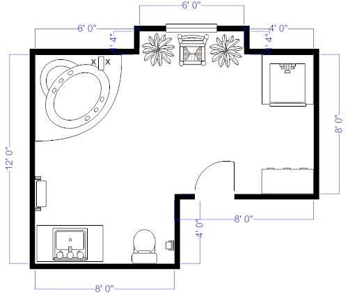 bathroom floor plan with garden bath tub example