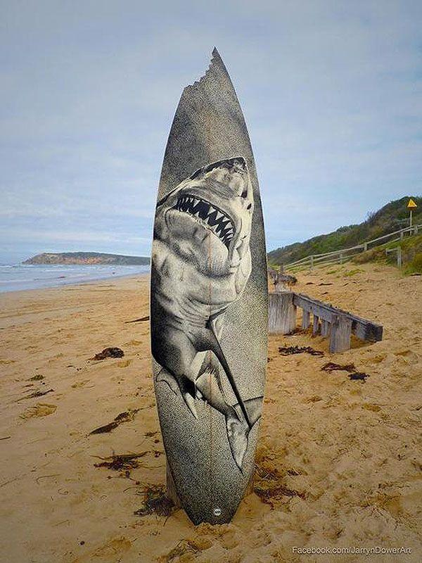 Old Surfboards Get Recycled As Art Jarryn Dower Surfboard Art 1