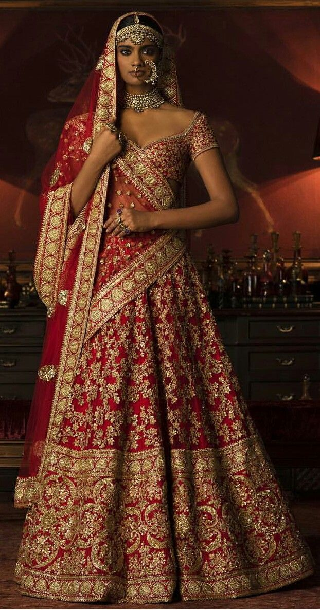 Red Lehenga With Exquisite Gold Zari Work