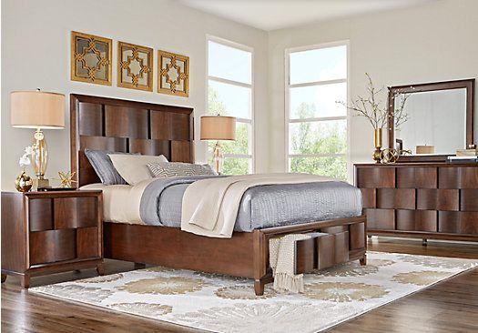 Baybrook Chestnut 7 Pc King Panel Bedroom with Storage ...
