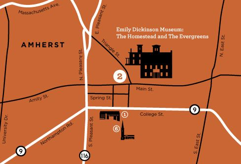 emily dickinson museum Map to Emily Dickinson Museum The