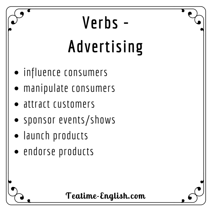 English Verbs. Advertising Verbs. Words To Use When
