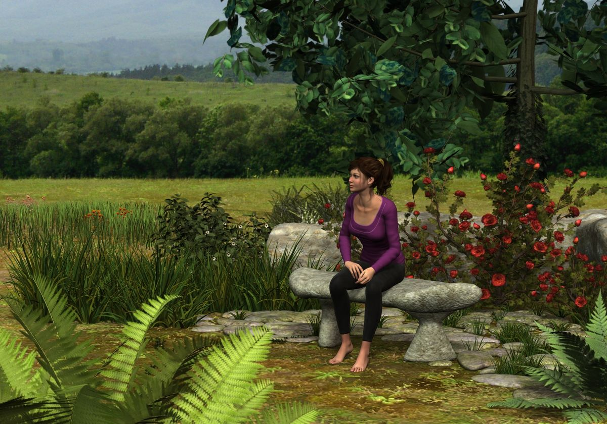 "Scene from ""Come Walk with Me"", my sacred animated music video.  The character showing is only a model for perspective."