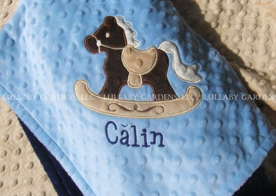 Rocking horse personalized minky baby blanket personalized minky rocking horse personalized minky baby blanket personalized minky baby blanket personalized baby gift horse appliqued minky baby blanket negle Gallery