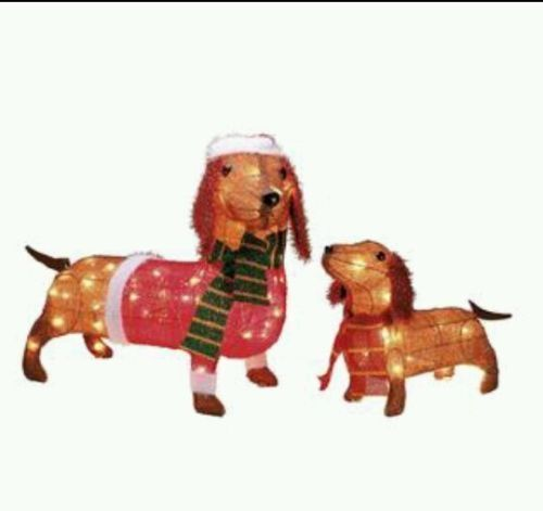 2 Light Up Dachshund Dogs Outdoor Christmas Decoration New In Box So Cute Htf Christmas Lawn Decorations Outdoor Christmas Decorations Dog Light