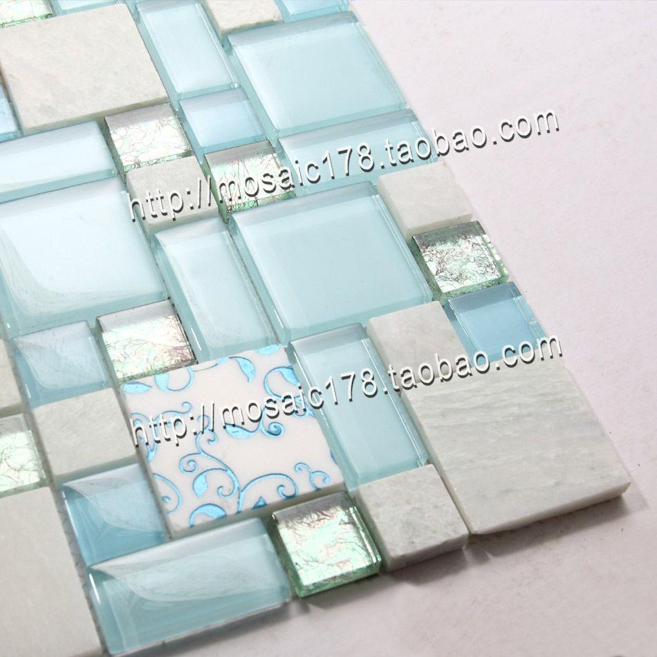 Luminous stone blue crystal glass mosaic y 9802 bathroom tile ...