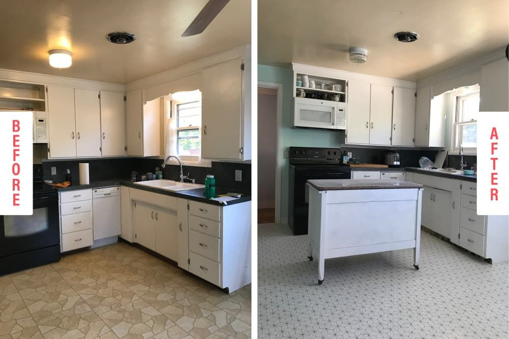 Before After I Made Over My Kitchen With Peel And Stick Tiles Kitchen Flooring Stick On Tiles Peel And Stick Tile