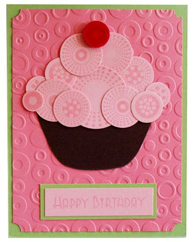 Happy Birthday Cupcake Punch Art Tarjetas Fáciles