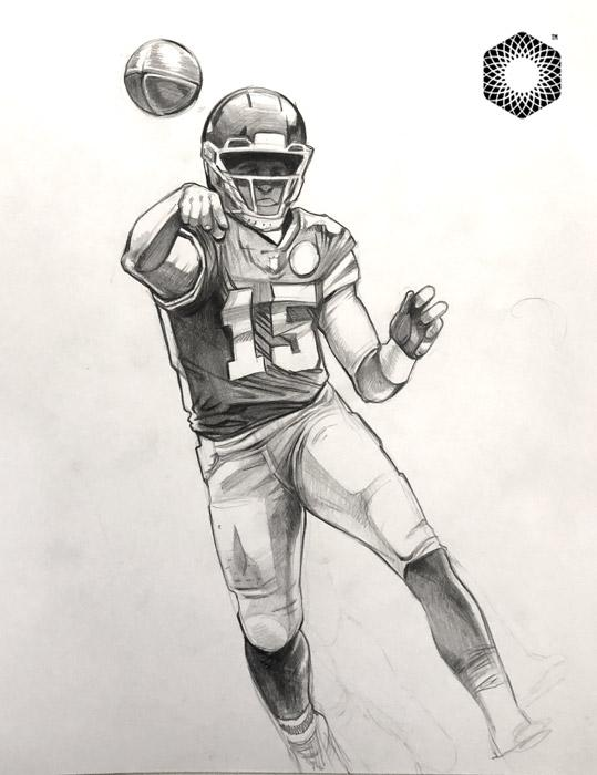 Cs002 Patrick Mahomes Pencil 1 Of 1 Sketch Framed After