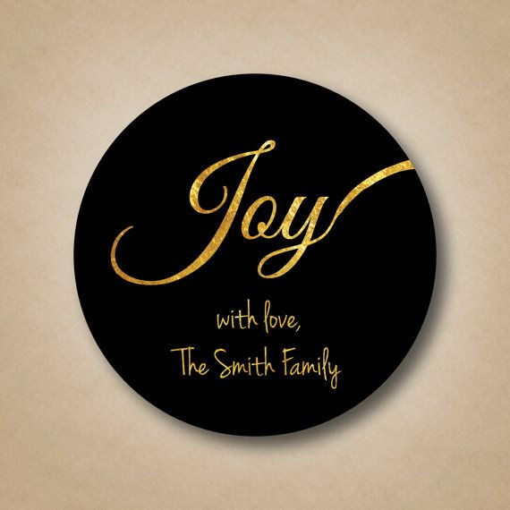 Gold foil joy holiday gift label personalized by stickemuplabels