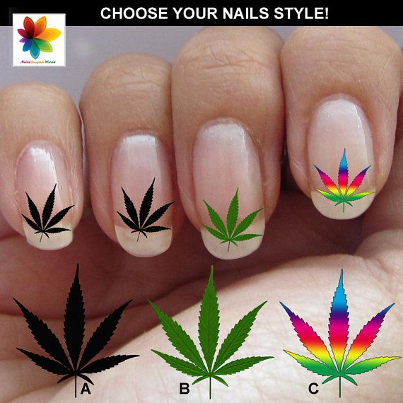 Marijuana Leaves Leaf Nail Art 60 Waterslide By Nailsgraphicworld