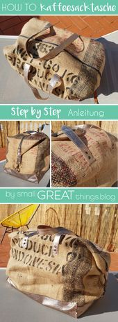 DIY coffee bag goes Duffle Bag  DIY bag from coffee sack sew by small GREAT things