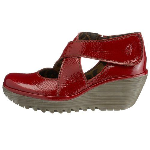 0037ecca0df9 Fly london Yogo Red Patent Leather Womens New Cross Bar Wedge Shoes  Shoes