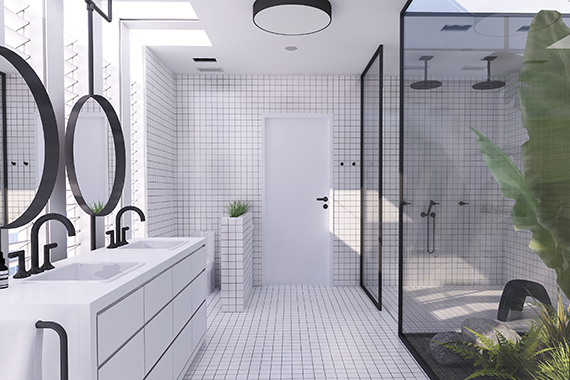 Contemporary minimalistic bathroom design urban bathroom design