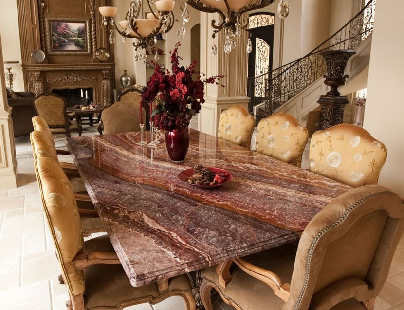 Custom Granite Dining Table Set In Rectangle Shape Elegant