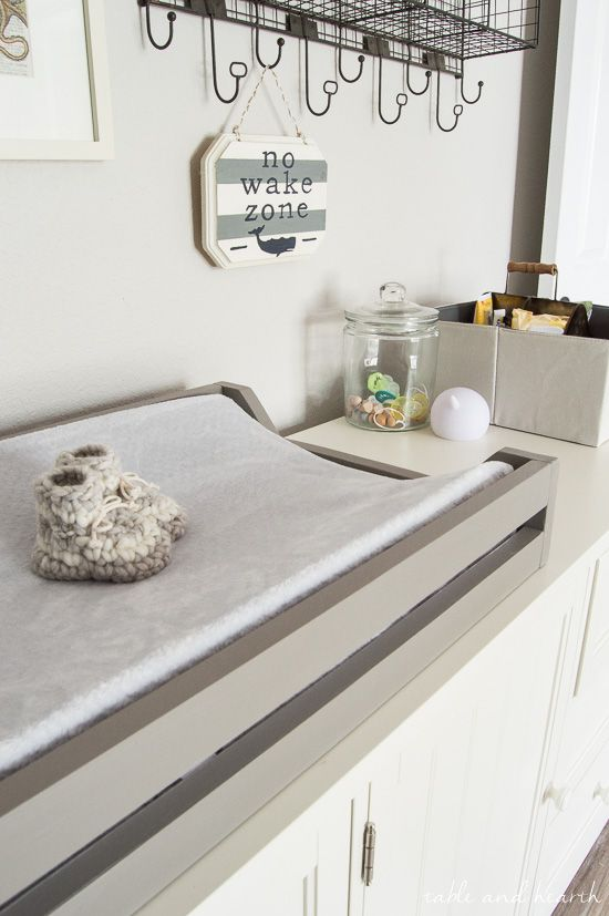 Easy Diy Changing Pad Tray For The Nursery Monthly Diy Challenge Table And Hearth Diy Changing Table Nautical Nursery Changing Table Changing Table Tray