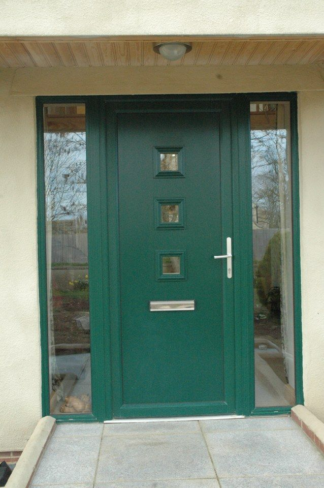 Installation Of Double Diamond Front Door With Middle Strip Glazing And Side Panel Windows In 28mm