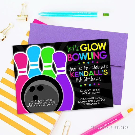 Glow Bowling Invitations Bowling Invitation Glow Bowl Invites