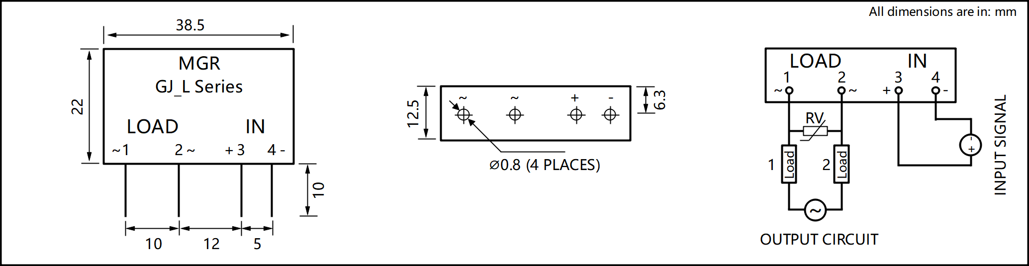 Gj L Series Dimensions And Circuit Wiring Diagram Relay Series States