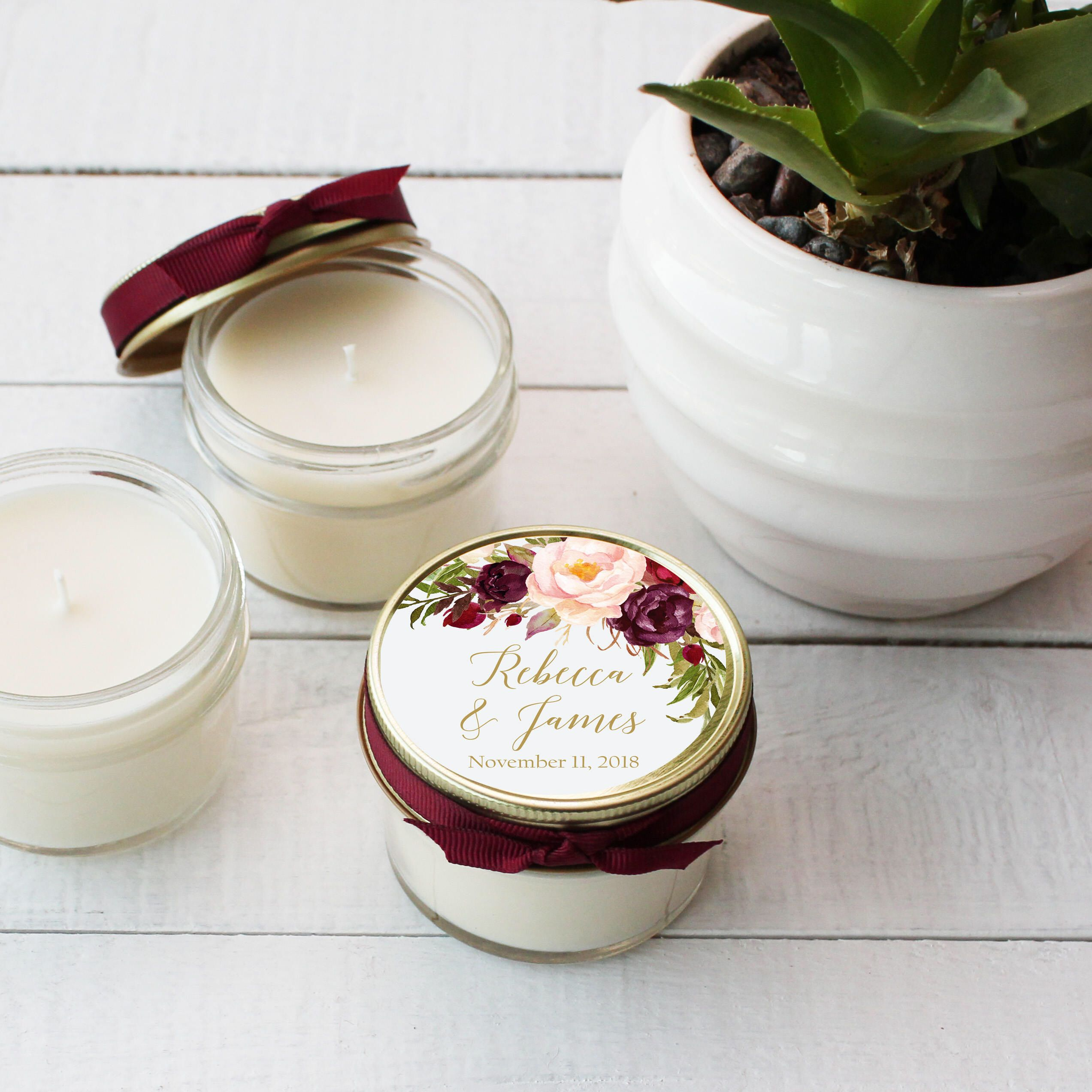 Set of 12 - 4 oz Soy Candle Wedding Favors | Marsala Floral Label ...