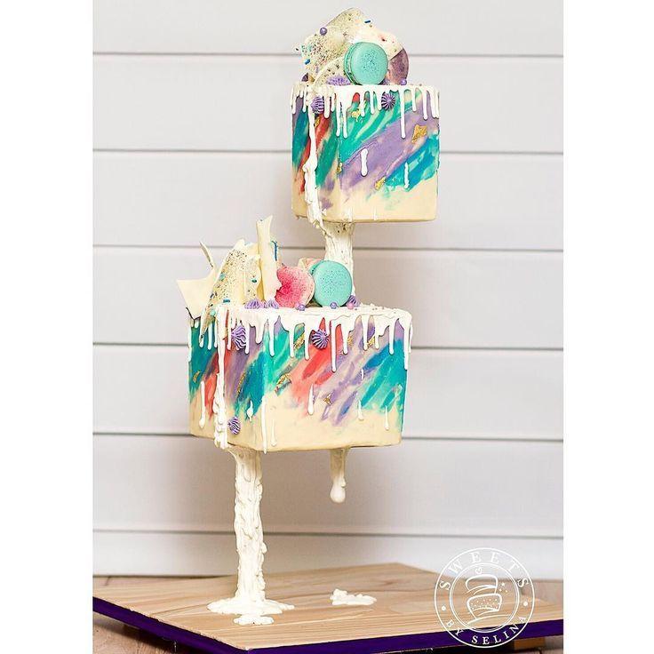 Gravity Defying Drip Cake #gravitycake