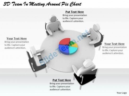 1813 3D Team in Meeting Around Pie Chart Ppt Graphics Icons - pie chart templates